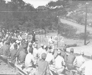 62 Replacement Depot at Manila. 1945. Soldiers get instructions.