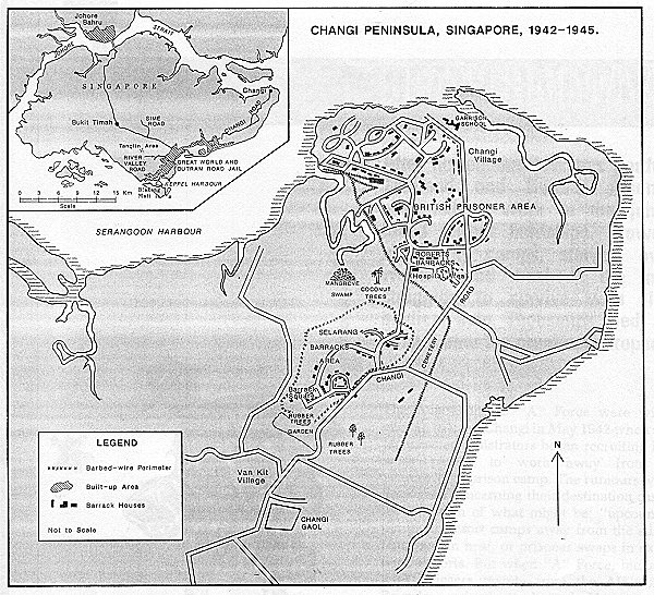 Map of Changi area with POW camps and prisons during WW II