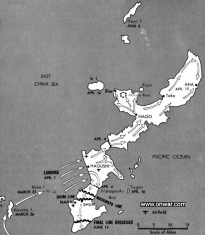 Map of Okinawa with the landings