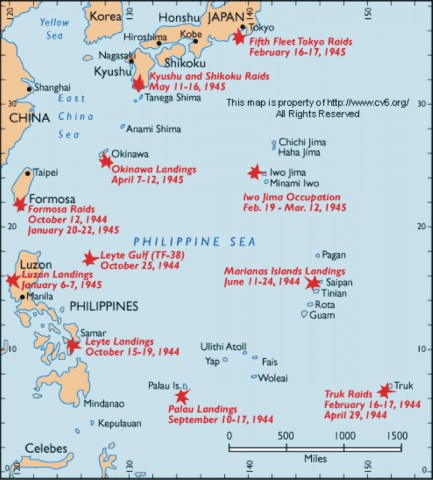 Map of the Pacific in 1944 with all the landings