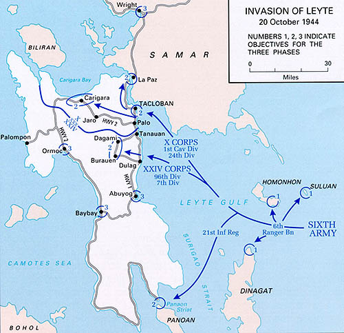 Map of the invasion of Leyte
